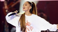 Ariana Grande performs during the One Love Manchester benefit concert for the victims of the Manchester Arena terror attack at Emirates Old Trafford
