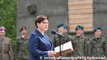 Die Ministerpräsidentin Polens, Beata Szydlo, spricht am 14.06.2017 in Polen, Oswiecim, im ehemaligen Vernichtungslager Auschwitz anlässlich des 77. Jahrestags der deportation politischer Gefangener in das Konzentrationslager. Foto: Jacek Bednarczyk/PAP/dpa +++(c) dpa - Bildfunk+++ |