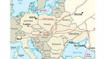 Karte von bestehenden und geplanten russischen Gaspipelines in Europa