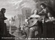 Painting by Johann Hulsman showing company in a garden, playing music