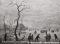 Painting by Anthonie Verstraelen showing ice skaters