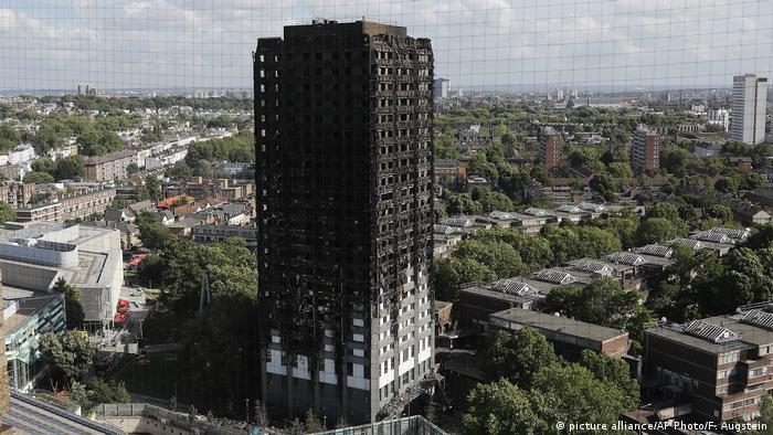 The charred remains of Grenfell Tower in London