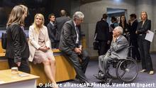 15.6.2017** 15.6.2017*** German Finance Minister Wolfgang Schaeuble, center right, speaks with Austrian Finance Minister Hans Joerg Schelling, center left, during a meeting of eurogroup finance ministers at the European Council building in Luxembourg on Thursday, June 15, 2017. Eurogroup finance ministers met on Thursday to review the bailout program for Greece. (AP Photo/Geert Vanden Wijngaert) |