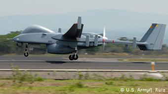 Heron drone taking off from Comalapa International Airport in San Salvador (U.S. Army/J. Ruiz)