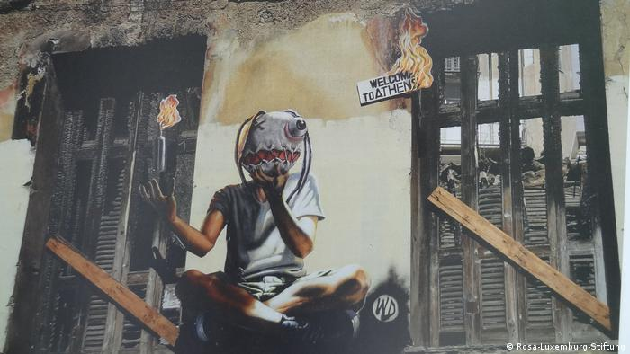 Graffiti auf eine Wand in Athen des in Athen lebenden Künstlers WD (Rosa-Luxemburg-Stiftung)