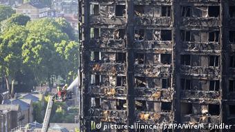 London Hochhausruine nach Brand