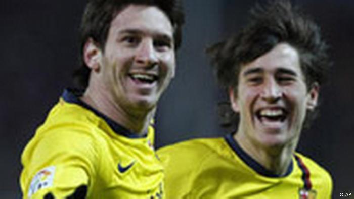Fußball Spanien Barcelona Madrid Lionel Messi Bojan Krkic (AP)