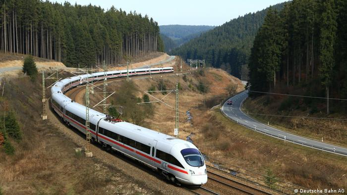 ICE track between Berlin and Munich. An ICE 4 travelling over a curvey stretch of track in the Frankenwald, Germany
