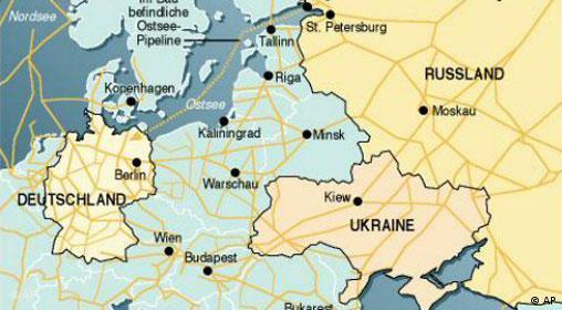 Gaspipelines im europäischen Raum
