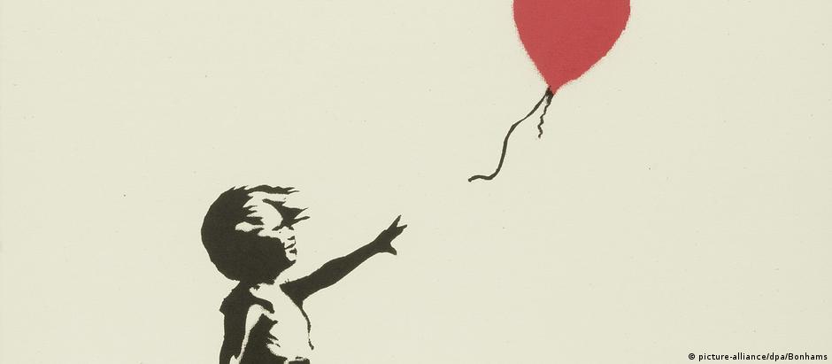 """Originalmente um grafite pintado num muro de Londres, obra """"Girl With Balloon"""" é uma das mais conhecidas de Banksy"""