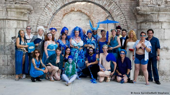 Ecosexual blue wedding to the sea in Venice, Italy, in August 2009