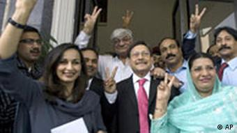 Sherry Rehman, Pakistan's ambassador to the US, with other PPP officials (Photo: AP Photo/Anjum Naveed)