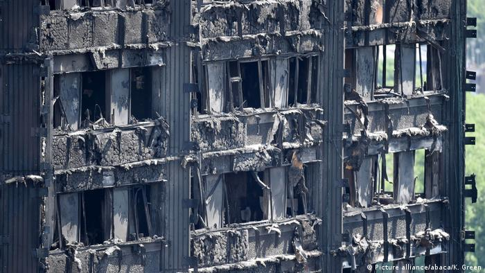 The aftermath of the fire shows the devastation of Grenfell Tower in London (Picture alliance/abaca/K. Green)