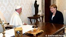 German Chancellor Angela Merkel talks with Pope Francis during a meeting at the Vatican June 17, 2017. REUTERS/Ettore Ferrari/Pool