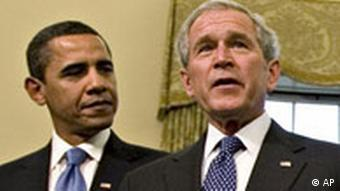 US President Barack Obama and former Vice President George W. Bush