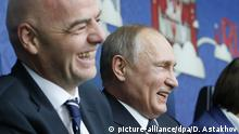 ST PETERSBURG, RUSSIA - JUNE 17, 2017: FIFA President Gianni Infantino (L) and Russia's President Vladimir Putin seen ahead of the 2017 FIFA Confederations Cup Group A match between Russia and New Zealand at Saint Petersburg Arena Stadium. Dmitry Astakhov/Russian Government Press Office/TASS Foto: Dmitry Astakhov/TASS/dpa |