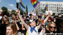Participants take part in the equality march in Kiev, Ukraine, June 18, 2017. REUTERS/Valentyn Ogyrenko