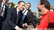 LE TOUGUET, June 18, 2017 French President Emmanuel Macron greets his supporters after he voted at the city hall in the second round of the parliamentary elections in Le Touquet, France on June 18, 2017. gl |
