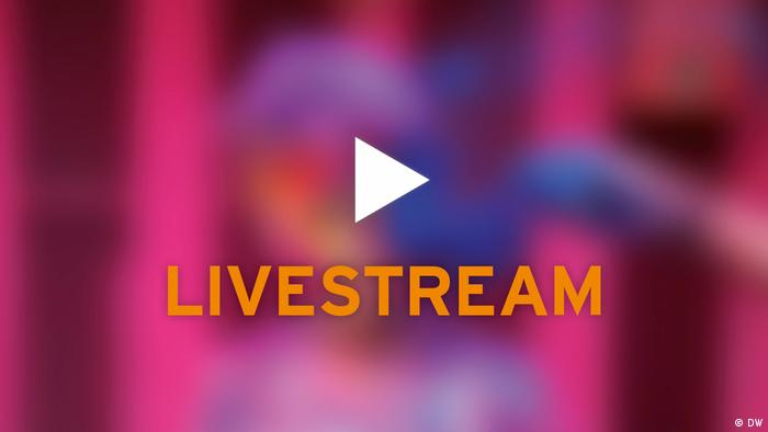 The word livestream and a play triangle on a purplish background (DW)