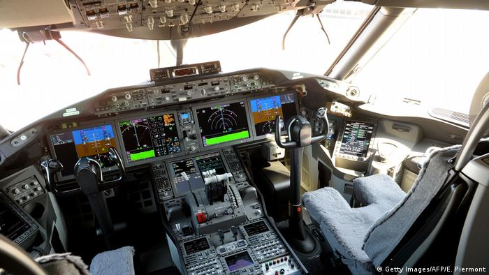 The cockpit of a Boeing 787-10 Dreamliner.