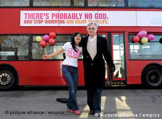 A london double-decker bus with the slogan - There's probably no God - on them.