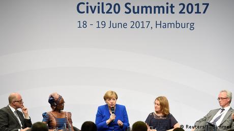 Angela Merkel speaking at C20 meeting in Hamburg (Reuters/F. Bimmer)