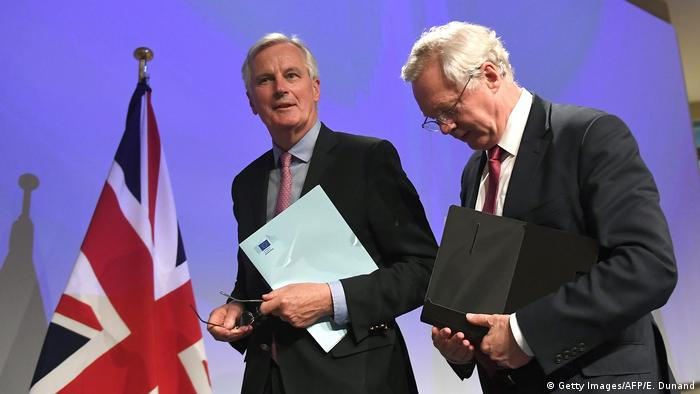 The EU's Michel Barnier with Britain's Brexit Minister David Davis