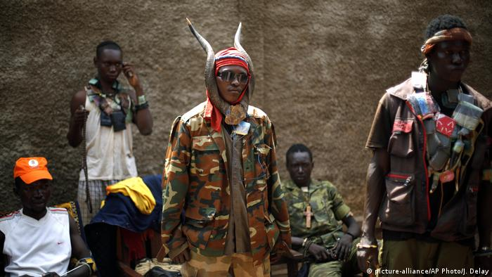 Members of the Christian Anti-Balaka group in the Central African Republic posing with their amunition