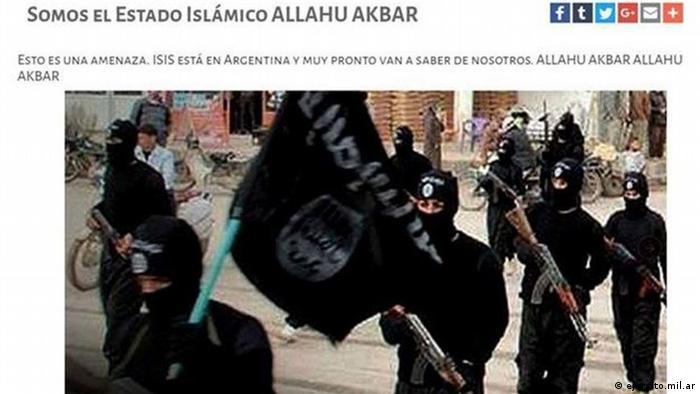 Screenshot von der Webseite der Argentinischen Armee