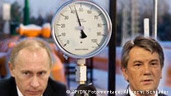 Symbolbild Gasstreit mit Putin und Juschteschenko (Foto-Montage: ap)