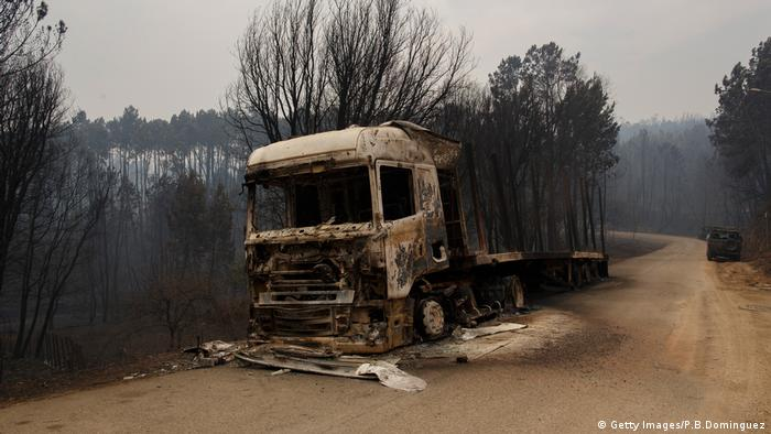 Portugal fire burnt out lorry