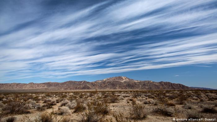A desert landscape, with little bushes and a hill in the background, beneath a cloud-streaked sky