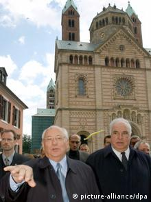 Mikhail Gorbachev with Helmut Kohl at Speyer Cathedral