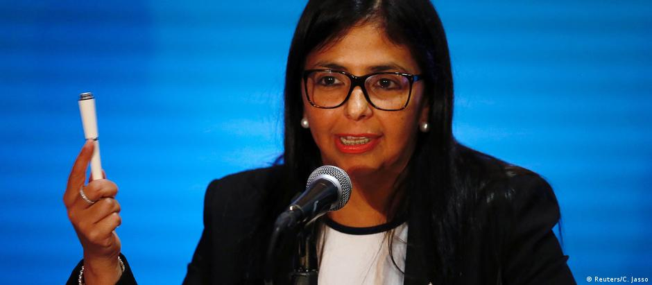 Presidenteda Assembleia Constituinte, Delcy Rodríguez, voltou a atacar a oposição