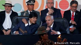 El presidente Evo Morales en la Conferencia de los Pueblos.