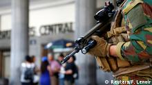 21.06.2017****A Belgian soldier stands guard outside Brussels central railway station after a suicide bomber was shot dead by troops in Brussels, Belgium, June 21, 2017. REUTERS/Francois Lenoir