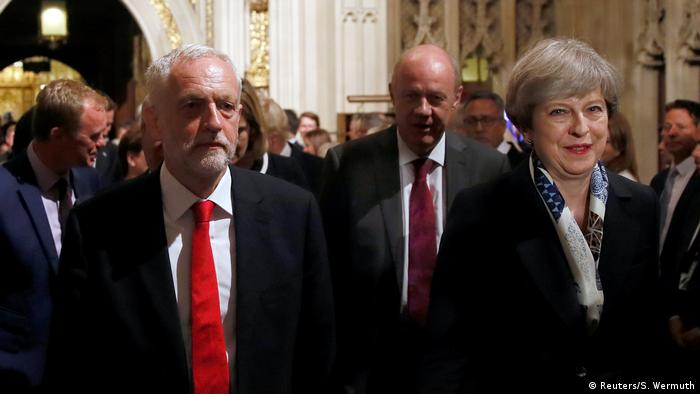 Britain's Prime Minister, Theresa May and opposition Labour Party leader Jeremy Corbyn, during the State Opening of Parliament