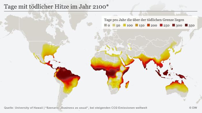 Infografik Tage mit tödlicher Hitze im Jahr 2100 DEU