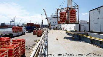 Türkei Verladung von Lebensmitteln, Schiff nach Katar