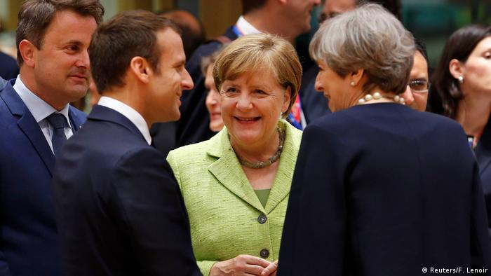 French President Emmanuel Macron, German Chancellor Angela Merkel and British Prime Minister Theresa May