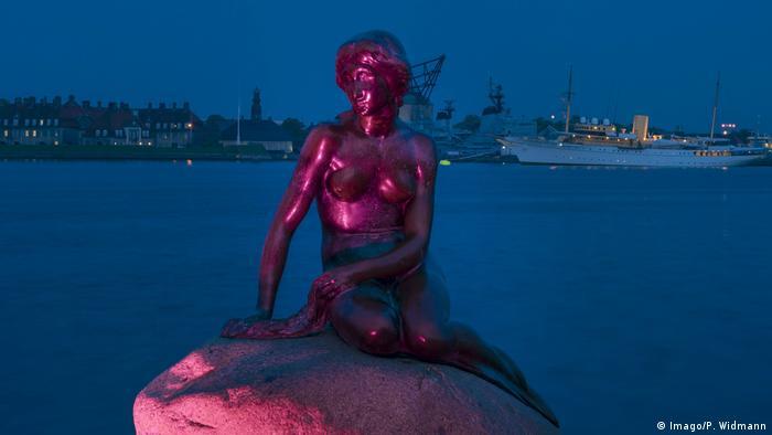 Little Mermaid statue in Copenhagen at dusk