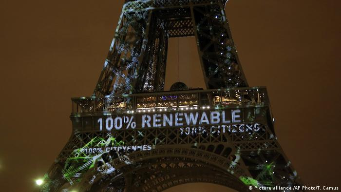 100% renewable projected on the Eiffel Tower ahead of COP21