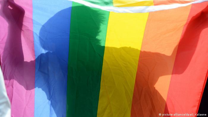 Schattenriß auf Regenbogenfahne (picture-alliance/dpa/J. Kalaene)