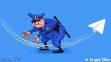 Karikatur zu Telegram und Russland von Sergey Elkin