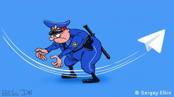 کاریکاتوری درباره تلاش برای فیلترینگ تلگرام در روسیه