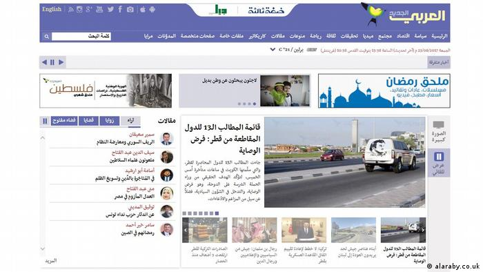 Screenshot Webseite Al-Araby - arabisch (alaraby.co.uk)