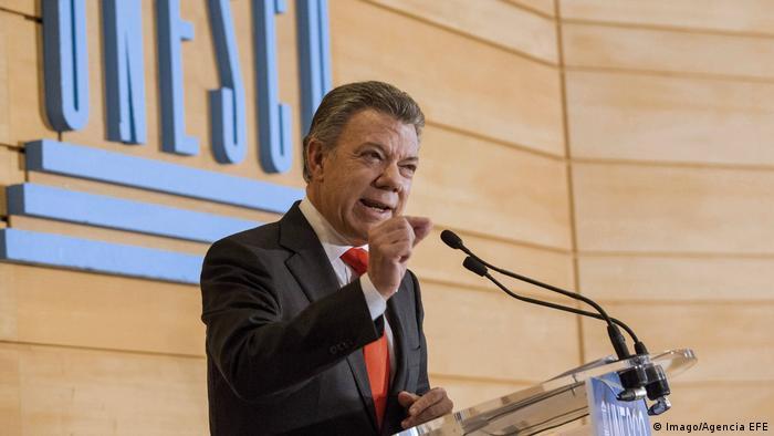Frankreich Juan Manuel Santos, Präsident Kolumbien bei der UNESCO (Imago/Agencia EFE)
