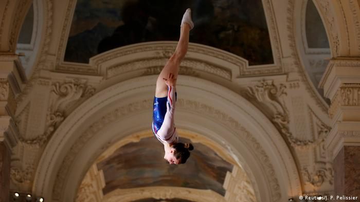 On a trampoline at the Petit Palais in Paris