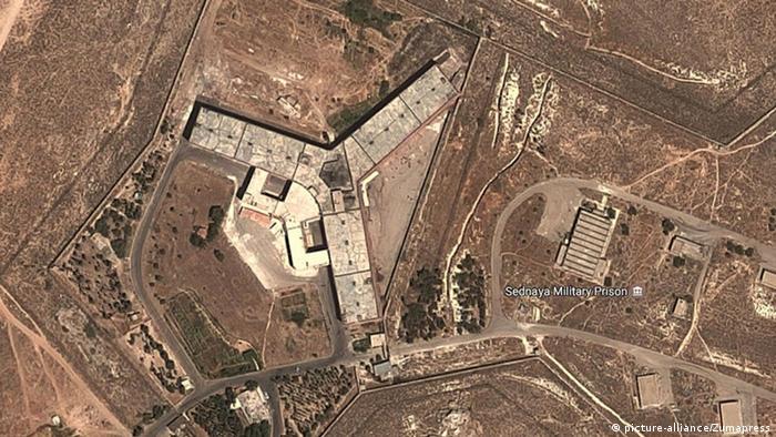 صورة للأقمار الصناعية لسجن صيدنايا العسكري قرب دمشق.