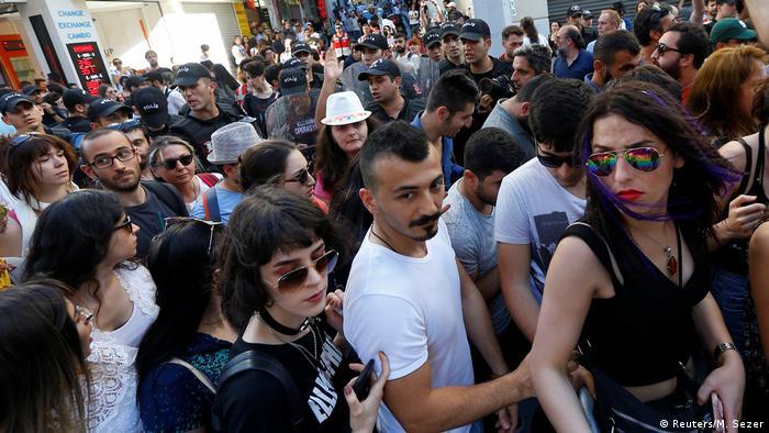 Gay pride parade participants in Istanbul